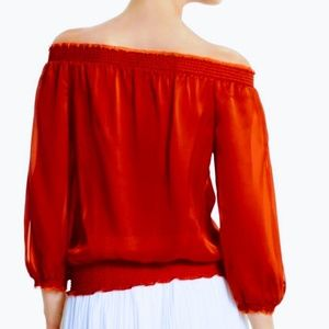 White House Black Market Tops - WHMB Red Silk Off Shoulder Blouse size XS 🆕💕